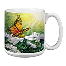 Tree-Free Greetings Extra Large 20-Ounce Ceramic Coffee Mug, Rays Of Light Themed Butterfly Art (XM29503)