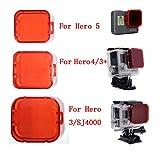 HOMREE GoPro HERO 3+/4 Dive Filters,Snorkel Filter Shallow Water Filter Red Filter Lens for GoPro HERO 3+/HERO 4 Cameras (For Hero 4/Hero 3+ Camera-A)