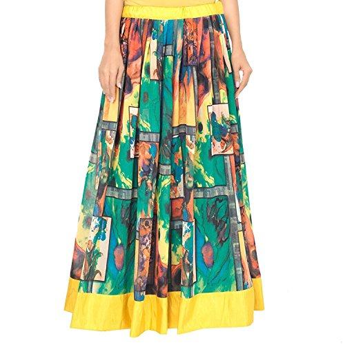 Skirt Handicrfats Georgette Export Yellow Indian and Admyrin Green Women qg7w64v