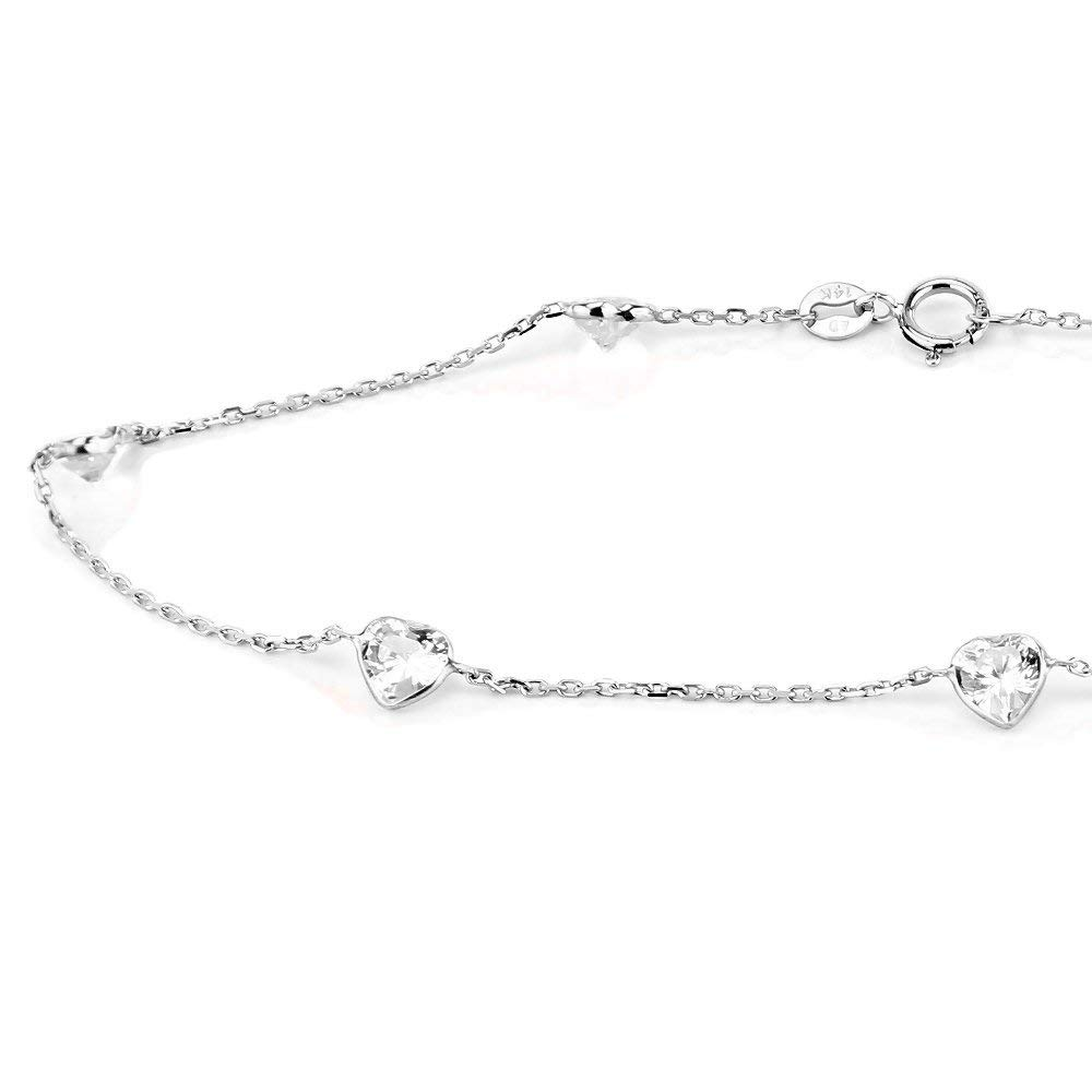 14K White Gold Anklet Bracelet With Round Shape Clear Quartz 10 Inches