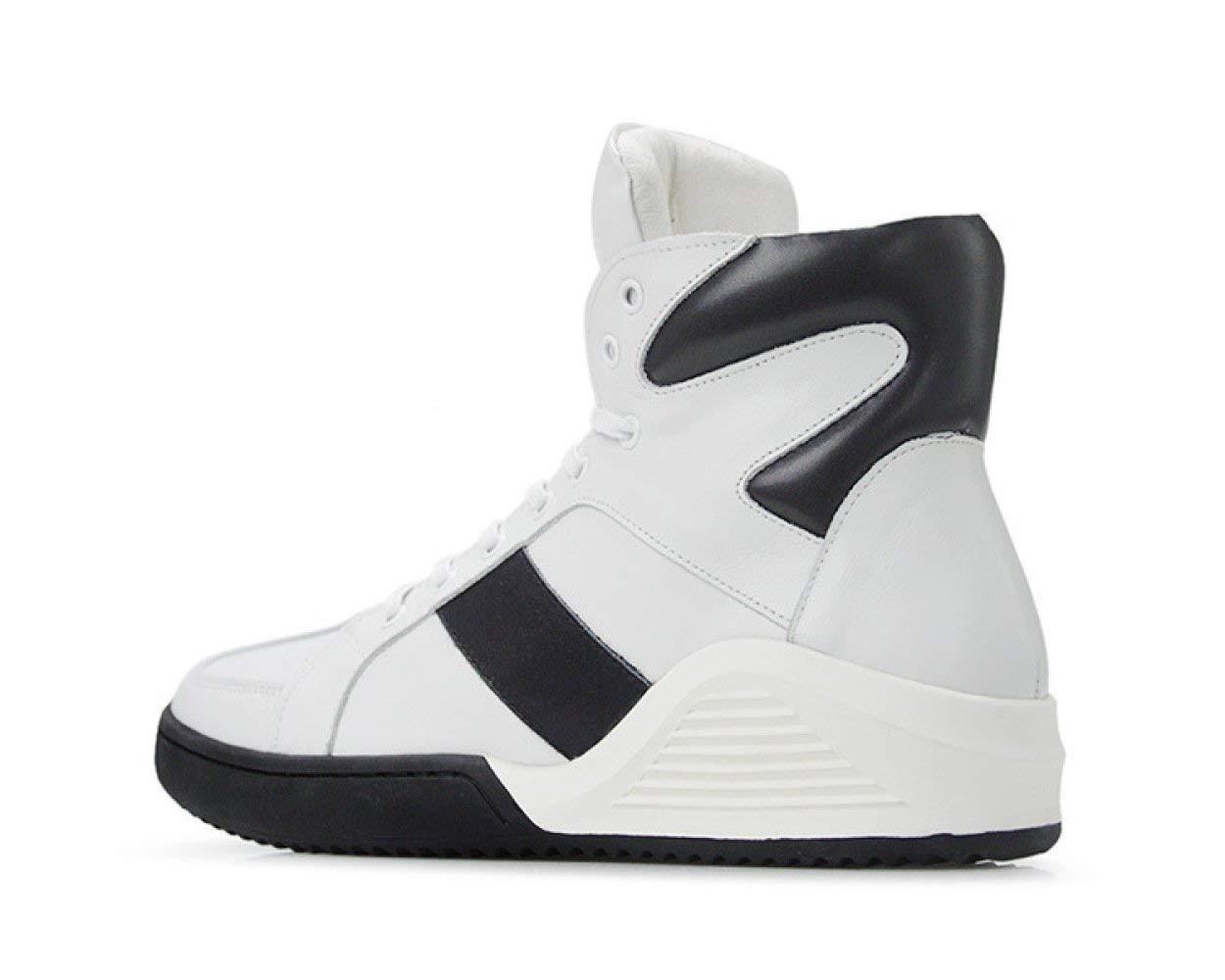 Willsego Männer Männer Männer Hip-Hop-Stil Basketball Schuhe Leder Atmungs Skateboard Schuhe Casual Sport Plateauschuhe (Farbe   Weiß, Größe   5UK(Foot Length 24.5cm)) 71b3c6