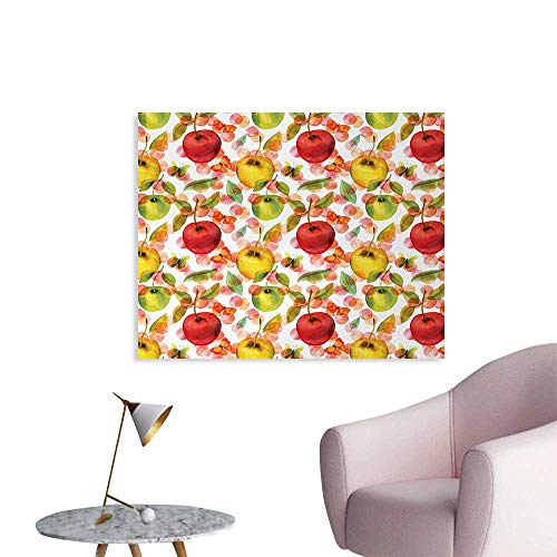 Tudouhoho Apple The Office Poster Watercolor Arrangement of Fruits with Leaves and Butterflies on Dotted Background Wall Sticker Decals Multicolor W48 -