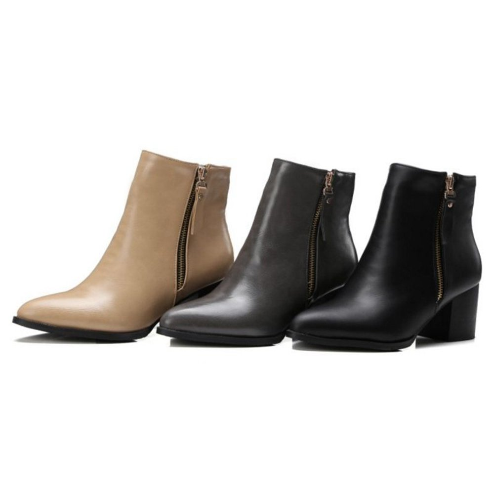 Onewus Women Plus Size & Mini Size Ankle Boots Pointed Toe Block Heel Zipper Booties