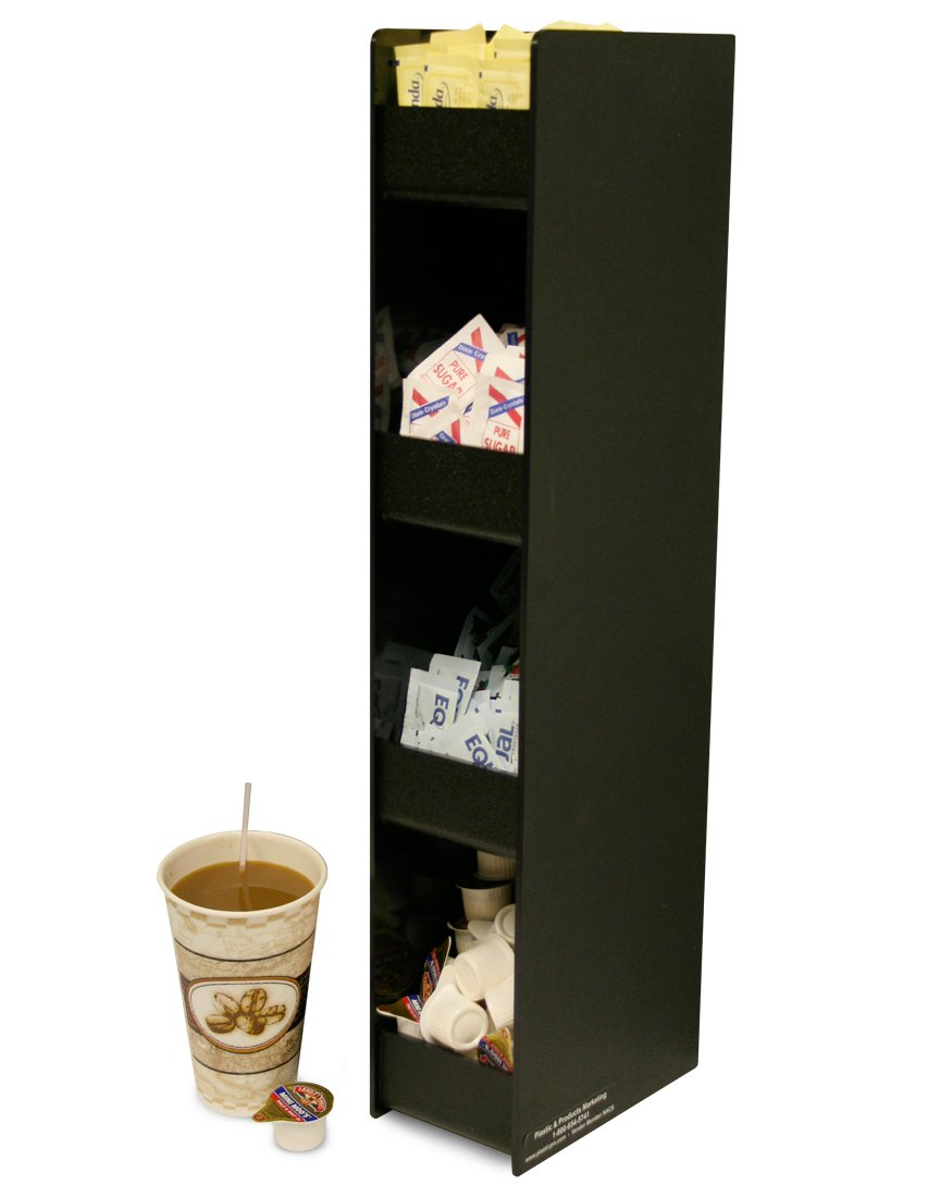 Really Short on Space? This Sturdy 4 Shelf Organizer Is Only 4 1/4'' Wide. Shown with Coffee Condiments,but It Can Be Multi-use. Proudly Made in the USA ! by PPM.