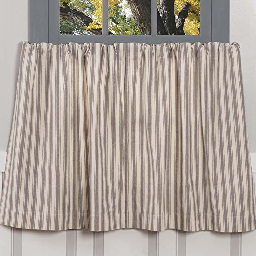 Piper Classics Market Place Gray Ticking Stripe Tier Curtains, Set of 2, 36