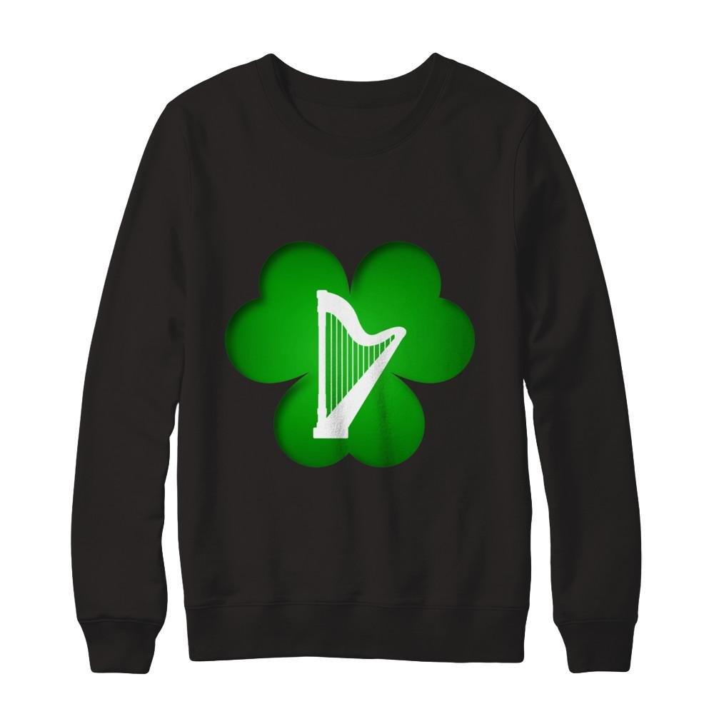 Teely Shop Womens Funny Celtic Harp Instrument Patricks Day Gildan Pullover Sweatshirt
