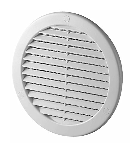 White Circle Air Vent Grille 200mm / 8 with Spigot and Fly Screen / Mesh Round Duct Grid Ventilation Ducting Cover TRU19K Armar Trading Ltd