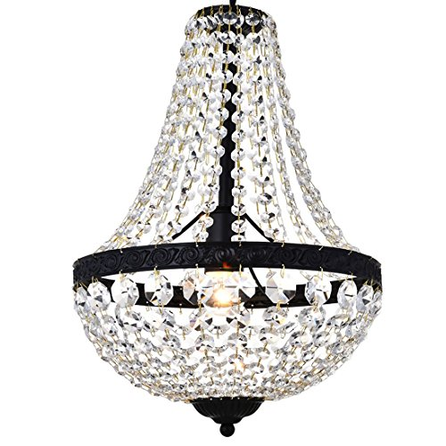Modern French Empire Black Finish Farmhouse Crystal Pendant Chandelier Lighting LED Ceiling Light Fixture Lamp Dining Room Bathroom Bedroom Livingroom 1E26 Bulbs Required H18 in X D12 in ()