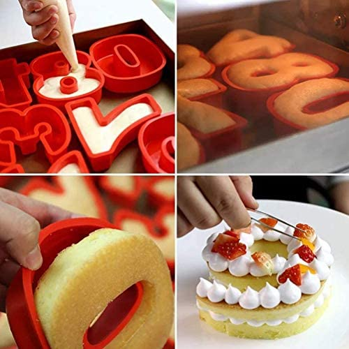 Silicone Number Cake Mold, Large Number Cake Baking Pan Mold for Birthday and Wedding Anniversary, Silicone 3-d Cake Mold, 10.2 x 8.3 x 2.4 Inch (3)