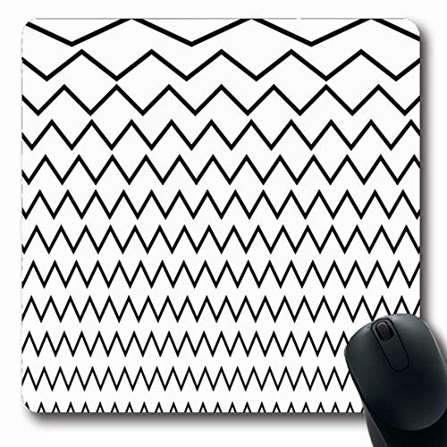Ahawoso Mousepads for Computers Amplitude Separator Wavy Crisscross Zigzag Lines Different Abstract Equalizer Jagged Bent Billow Oblong Shape 7.9 x 9.5 Inches Non-Slip Oblong Gaming Mouse Pad
