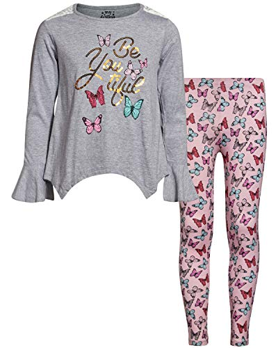My Destiny Girls' 2-Piece Legging Pant Set, Grey Be Youtiful, Size 10/12