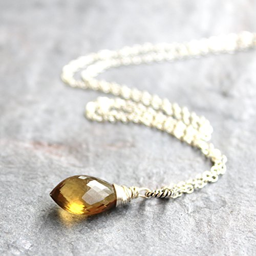 Gem Honey (Honey Quartz Necklace Faceted Pointed 18 Inch Gemstone Briolette Sterling Silver)