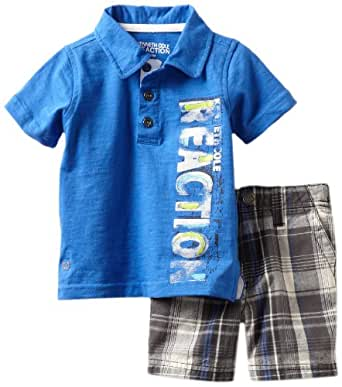 Kenneth Cole Baby Boys' Polo Shirt with Plaided Shorts, Blue, 18 Months