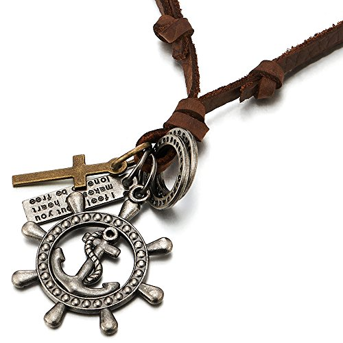 - COOLSTEELANDBEYOND Mens Womens Marine Boat Steering Wheel Anchor Cross Pendant Necklace with Adjustable Leather Cord