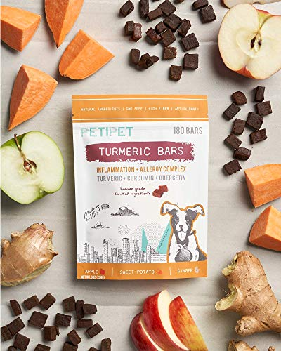 PETIPET Turmeric Bars Dog Treats - for Allergy-Based Inflammation - Formulated with Turmeric, Curcumin, Quercetin - Human-Grade Ingredients - Made in The USA - 180 Count