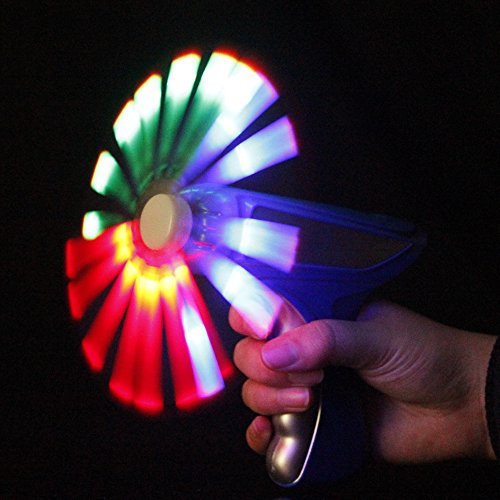 Fun Central AJ815 6 inch x 5 inch LED Light up Mini Windmill Blaster Gun Toy, Kids Mini Windmill Blaster Gun with Sound for Party Favors, Rewards,, Gifts