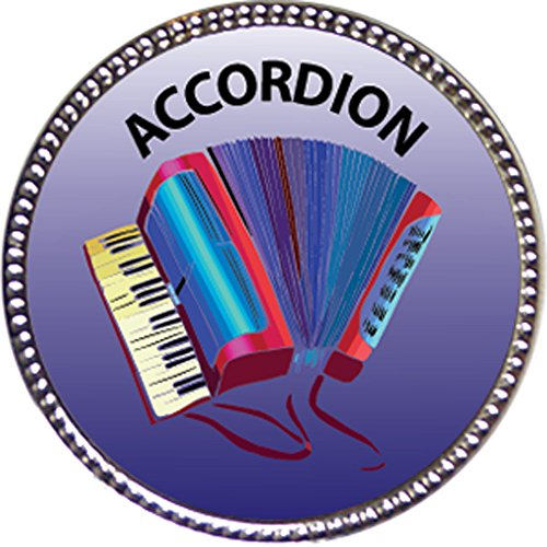 Accordion Award, 1 inch dia Silver Pin