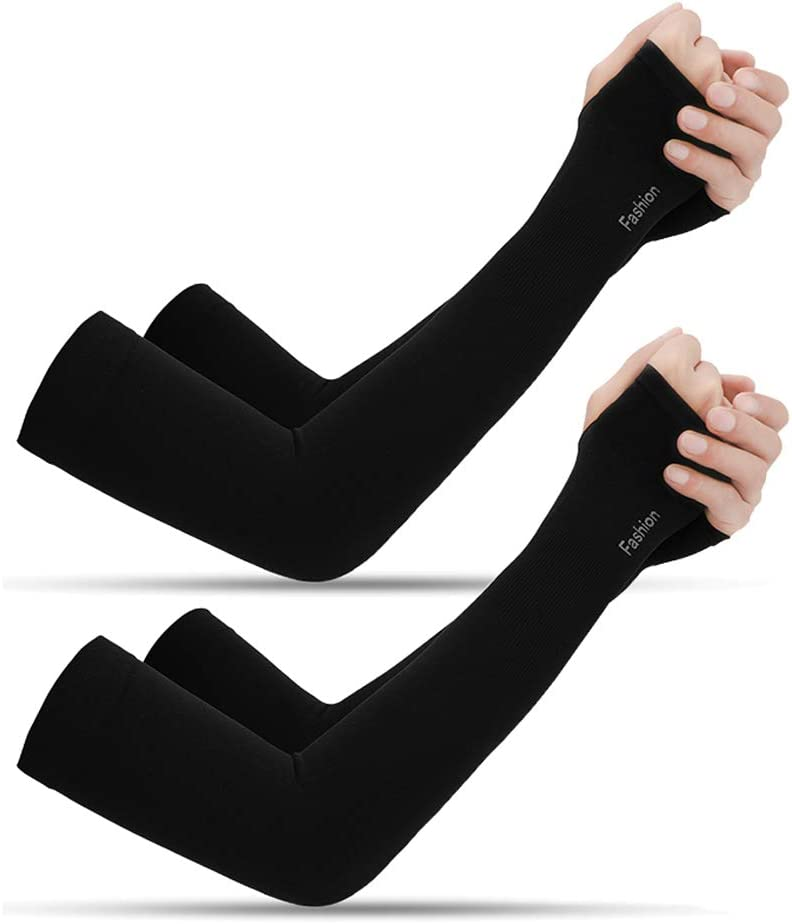 2 Pair UV Protection Cooling Breathable Arm Sleeve for Women and Men, Sun Protective Gloves with Finger Hole to Cover Arms for Cycling, Driving, Outdoor Sports, Golf(Black,4 Pcs),A