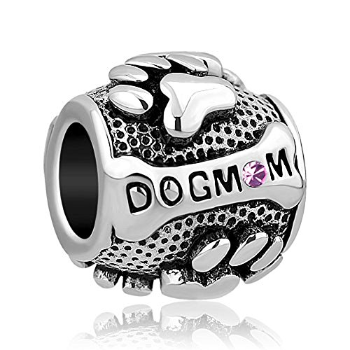 CharmSStory Paws Animal Dog Mom Silver Plated Charms Beads For Bracelets (JUNE)
