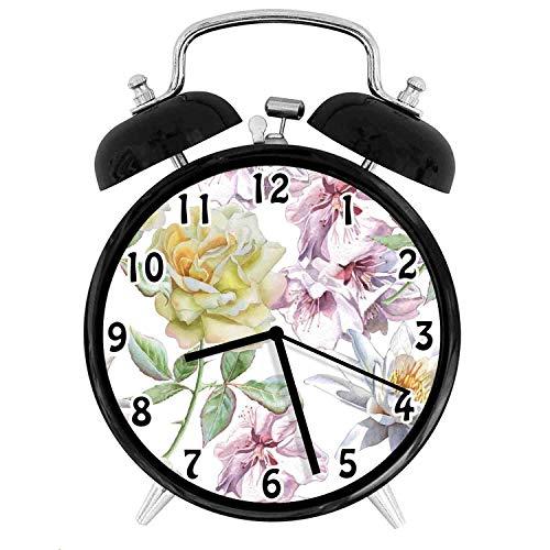 22yiihannz Floral Theme Desk Clock,Rose Petals Sakura Lily Flowers Blooms Romance Florets -Office,Bedroom,Kitchen,Bathroom,Silent Battery Quartz Desk Clock-4 inch ()