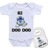 """ R2 Doo Doo "" Custom Printed Star Wars Baby bodysuit onesie & Matching bib Set"