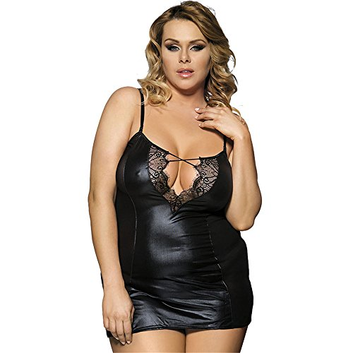 Women's Patchwork Mesh Lingerie Faux Leather Plus Size Babydoll Nightwear with G-String
