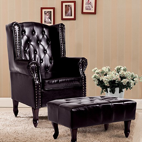 Leather Accent Chair - Cloud Mountain Tufted Accent Chair and Ottoman Brown Leather Club Chair Couch