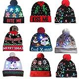 Lumumi Novelties LED Light-up Knitted Ugly Sweater Holiday Xmas Christmas Beanie - 3 Flashing Modes