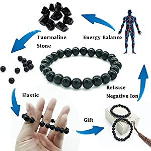 Black Tourmaline Crystal Bracelet for Women and Men