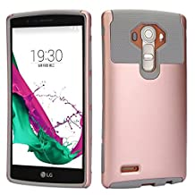 LG G4 Case, iMusi 2IN1 Shockproof Dual Layered Protective Cover Case Skin for LG G4 - Rose Gold/Grey