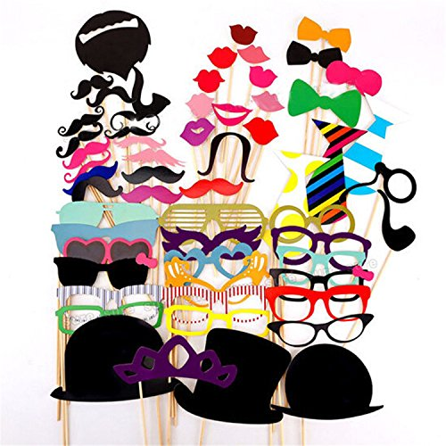#1 Rate Photo Booth Props ,Alenca 58 pcs Photo Booth Props DIY Kit for Wedding Birthdays Party Reunions Dress-up Photobooth Accessories & Party Favors,Hats,Glasses,Costumes Mustache on stick - Creative One Of A Kind Costumes