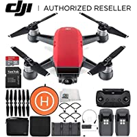 DJI Spark Portable Mini Drone Quadcopter Fly More Combo Landing Pad Bundle (Lava Red)