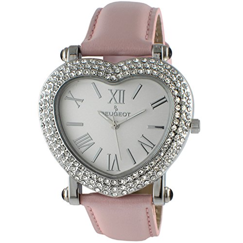 Peugeot Womens Heart Shaped Crystal Watch Pink Strap (Heart Watch Shaped Ladies)