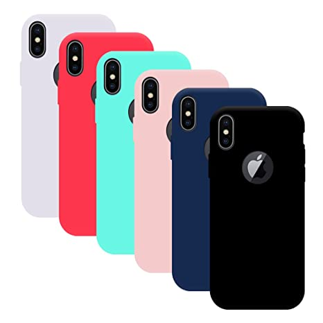 6x Funda iPhone X, Yidaxing Funda Silicona Gel Carcasa Ultra Delgado Flexible TPU Goma para iPhone X con 6 Colores, Negro, Azul, Rojo, Verde, Rosa, ...