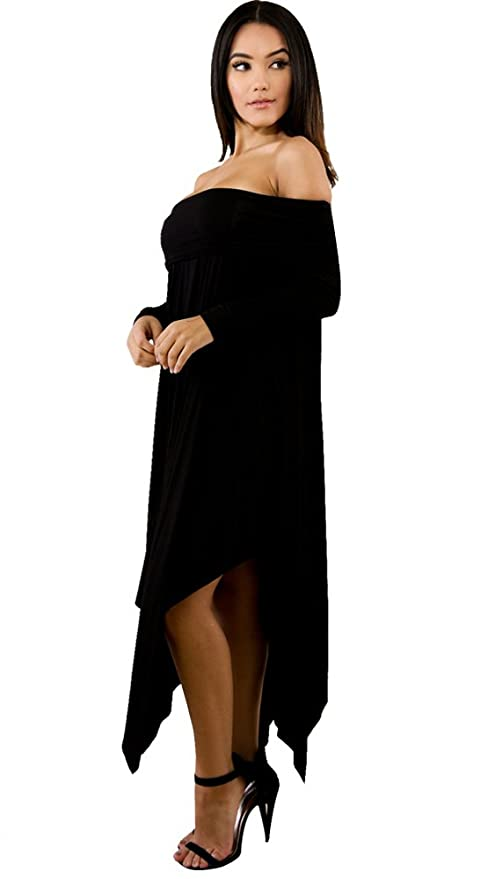 0f6495d729ea Aleng Women's Solid Color Off Shoulder Long Sleeve Dress Asymmetrical Hem  Party Dress at Amazon Women's Clothing store:
