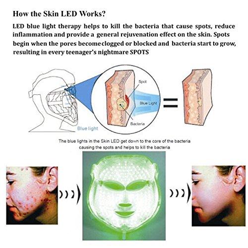 ZRYstore 3 color llevó máscara de oro terapia de luz LED tratamiento facial belleza piel cuidado foto terapia máscara para Acné arrugas blanqueamiento: ...
