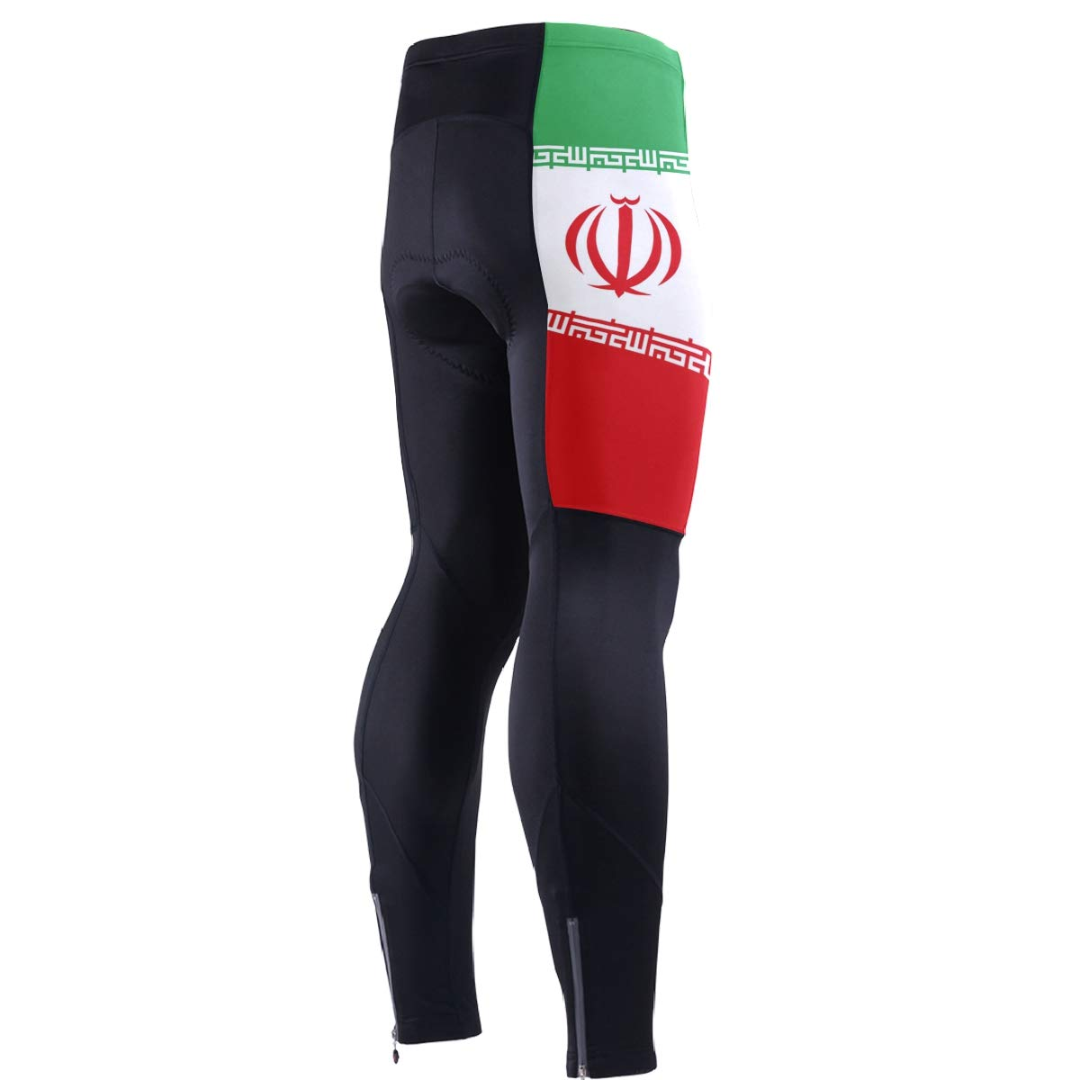 CHINEIN Men's Cycling Jersey Long Sleeve with 3 Rear Pockets Pants Iran Flag