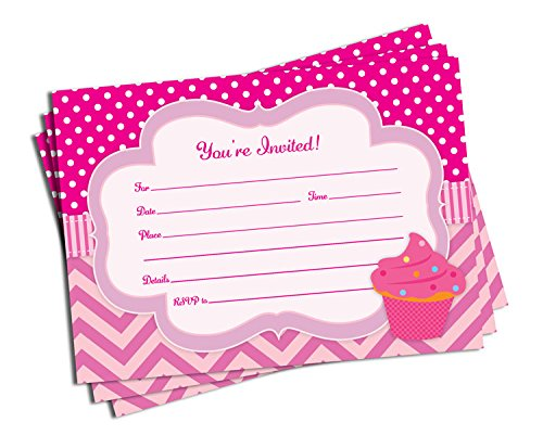 25 Pink Cupcake Invitations and Envelopes (Large Size 5x7) - Baby Shower - Birthday Party - Any Occasion ()