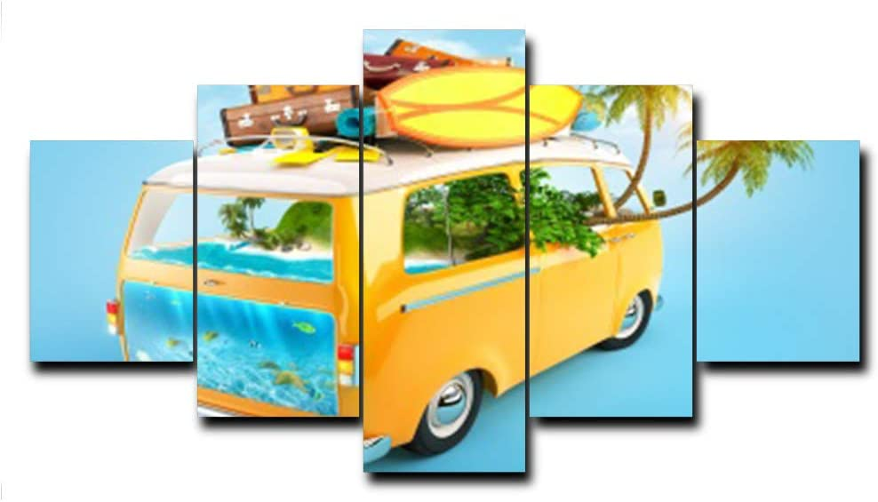 N / A Calligraphy Painting On The Wall Art Canvas Tropical Car Poster and Prints Family Living Room Decoration Frameless 75x160cm