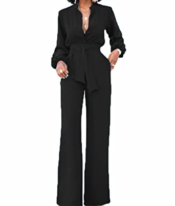 608b625600a Amazon.com  OLUOLIN Jumpsuits for Women Elegant Sexy V-Neck Long Sleeve  Rompers Wide Leg with Belt Pockets  Clothing