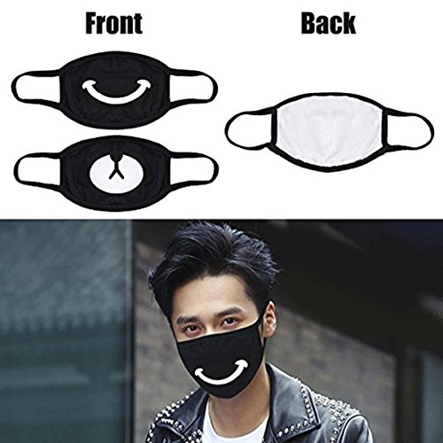 Muffle Mask Anti-Dust Anime Mouth Mask Cute Kaomoji Face Emoticon Earloop Cotton Surgical Mask for Kids Men and Women (Black 5) by QIN JU (Image #2)