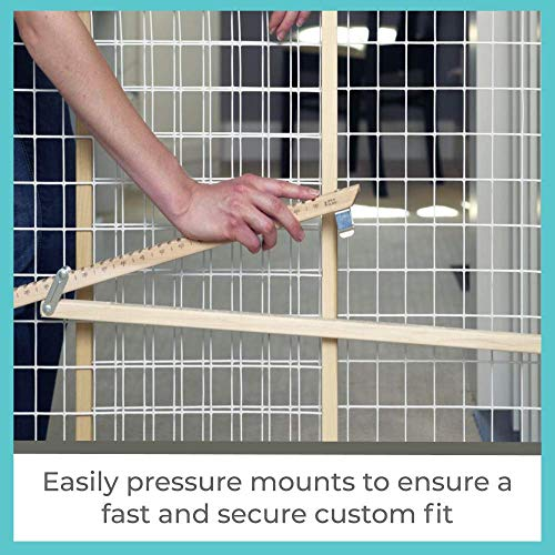 "51nIrj0GsRL - Toddleroo By North States 50"" Wide Extra Wide Wire Mesh Baby Gate: Installs In Extra Wide Opening In Second Without Damaging Wall. Pressure Mount. Fits 29.5""-50"" Wide (32"" Tall, Sustainable Hardwood)"