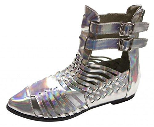 Cinturino Alla Caviglia Con Doppia Fibbia Per Donna Gladiator Point Kingston-4hi Argento