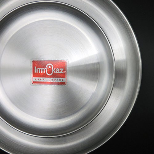 Immokaz Matte Polished 12.0 inch 304 Stainless Steel Round Plates Dish, for Dinner Plate, Camping Outdoor Plate, BPA Free (1-Pack) (L (12.0'')) by Immokaz (Image #1)