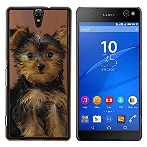 Perrito de Yorkshire Terrier Perro Sorprendido- Metal de aluminio y de plástico duro Caja del teléfono - Negro - Xperia C5 E5553 E5506 / C5 Ultra