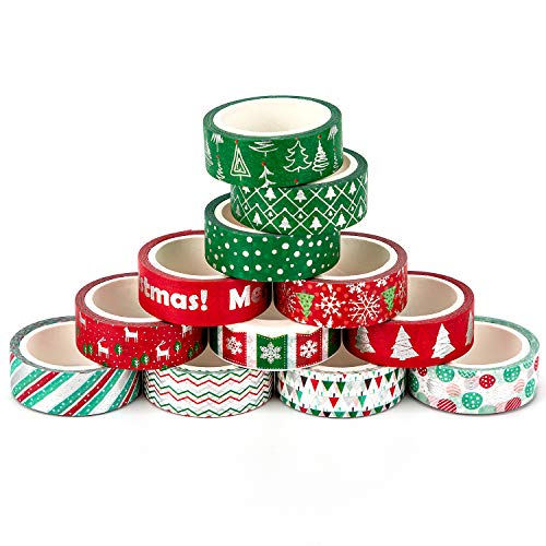 AIEX 12 Pieces Christmas Washi Tape Set for Kids DIY Crafts, Thick Washi Tape with Silver Texture Design Gift Wrapping Tape for Christmas Scrapbooking Planners Office Supplies (0.6Inch x 5.46Yard) (Tape Gifts Christmas Duct Diy)