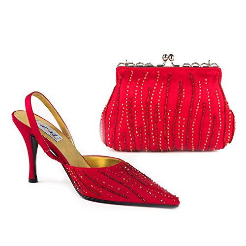 and Matching Bag FARFALLA Shoes Embroidered Set Red Satin Beaded wqUHTSnIO