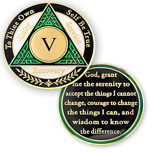 - 5 Year AA Medallions Coin - Alcoholics Anonymous Chips - Five Year Coins - Green White Black Token