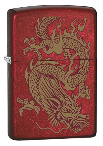 Zippo Lighter: Golden Dragon - Candy Apple Red ()