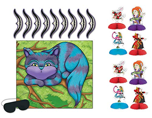 Alice in Wonderland Bundle | Includes Mini Centerpieces and Pin The Smile on Cheshire Cat Game ()